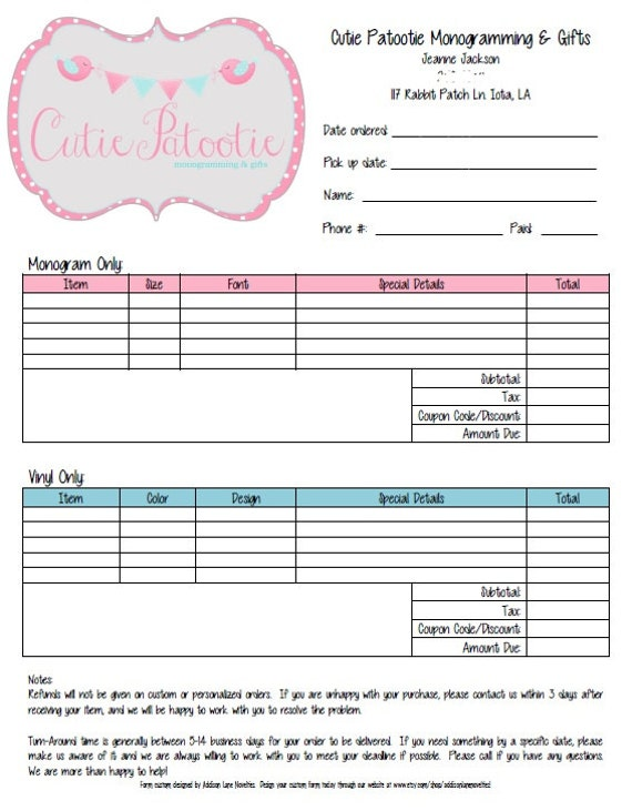 Custom Order Form  Ply Forms Full Size Order Book Custom
