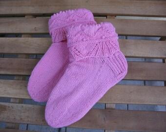 Hand knitted pink  wool women socks