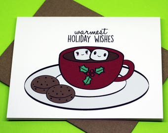 Warmest Holiday Wishes Cute Hot Cocoa Marshmallow Cookies Christmas Greeting Card