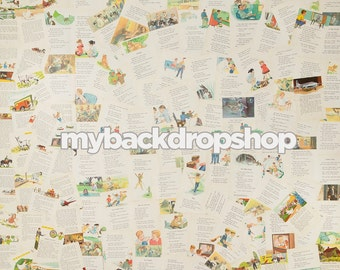 2ft x 2ft Children's Book Backdrop - Storybook Pages Photo Background - Vintage Newspaper - Exclusive Design - Item 2139