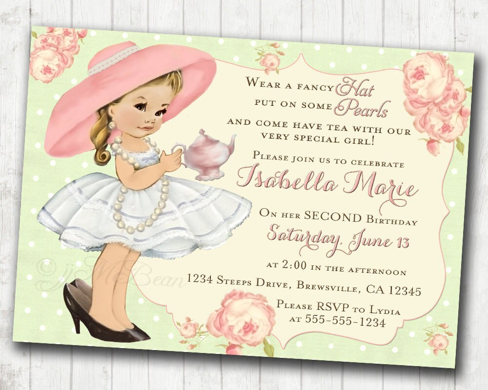 Tea Party Birthday Invitation For Girl Birthday Tea Party