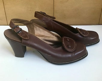 40s Brown Leather Detailed Pumps