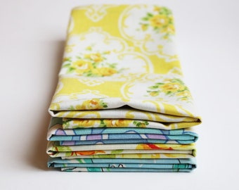 Fabric Napkins, Cloth Napkins, Reusable Napkin Set, Vintage Blues and Yellows, Handmade by Knotted Nest