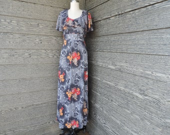 gray floral maxi dress 1970s ruffled boho hippie festival long gown medium
