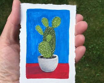 Tiny Cactus Original Watercolor Painting OOAK Free Shipping