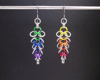 Rainbow Earrings, Chainmaille Earrings, Hypoallergenic Earrings, Stainless Steel, Asymmetric Earrings, Mismatched Earrings Chainmail Earring