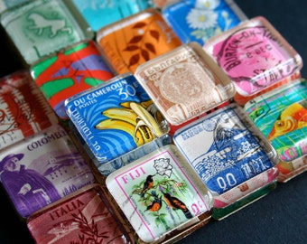 Postage Stamp Magnets - Glass Magnets - Party Favors - Vintage Stamp Magnets - Vintage Postage Stamps - Stocking Stuffer Gift - Set of 10