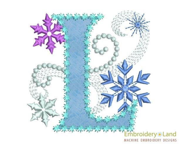 Ice Princess Letter L Frozen Cloth Decor Applique Machine