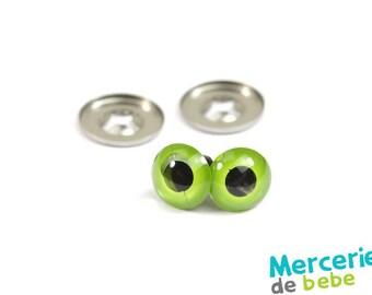 Set of 2 eyes for plush - 8 mm - Green