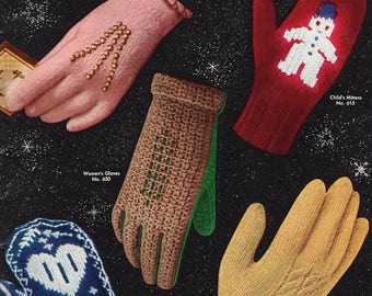 Free Us Ship Vintage Retro 1950's 50's Bucilla Knit Crochet GLOVES MITTENS for the FAMILY 1953 27 pages Norwegian Snowman Cable Car Shortie