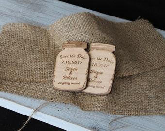 Save the Date Mason Jar Magnets-Cherry Wood Mason Jars-Personalized Laser Engraved Wood Mason Jar Magnets-Save the Date Magnets-Wood Mason