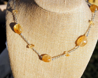 Silver and Citrine Circlet Necklace