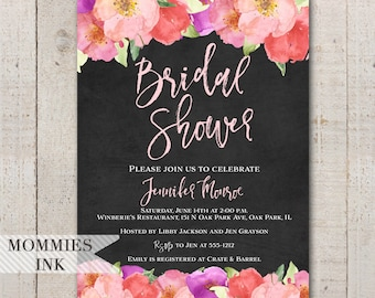 Bridal Shower Invitation, Watercolor Flowers Invitation, Floral Invitation, Chalkboard Invitation, Floral Shower Invite, Modern Typography