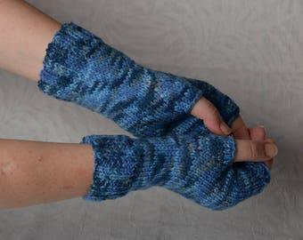 melange Arm Mittens, blue fingerless mittens, wrist arm warmers, knit fingerless gloves, hand warmers