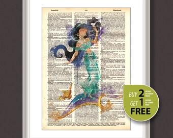 Dictionary Art Print, Princess Jasmine art, Disney Princess Jasmine, Princess Jasmine dictionary print, Disney wall art, Nursery art, 3661
