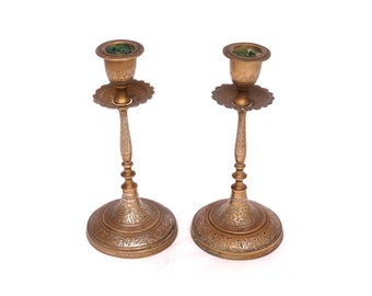 Vintage Brass Candle Holders, Pair of Brass Candle Sticks, Candlestick Holder, Tall Indian Brass Candle Holders, Engraved Candle Holders
