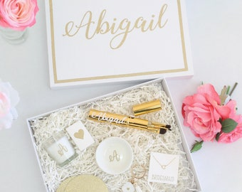 Personalized Bridesmaid Box Bridesmaid Proposal Box Bridesmaid Gift Glitter Gold Mother Of The Bride Bridesmaids Flower Girl Box (BBND20184)