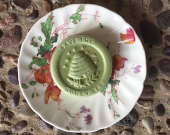Save the Bee Soap Gift.   Royal Doulton Saucer with Bee Soap, Sherborne Pattern.