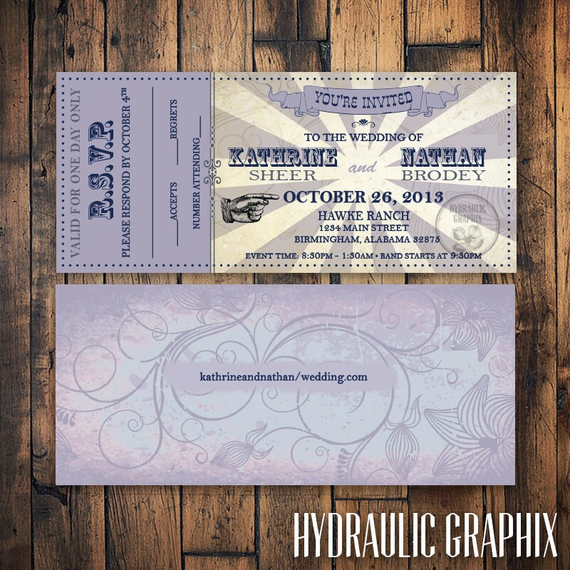 Printable Wedding Ticket Invitation and RSVP VIP Music