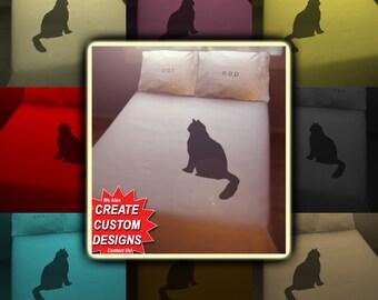 Nap Black Cat Bedding Duvet Cover Queen King Twin Size, Queen Bedding, King Bedding Twin, Kids Queen Duvet Cover, Linen Cotton Sheet Set