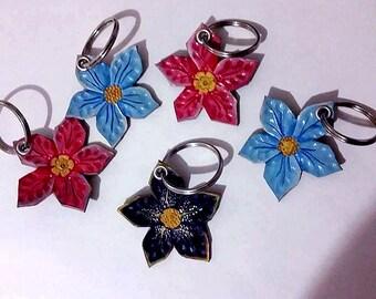 leather flower keychain