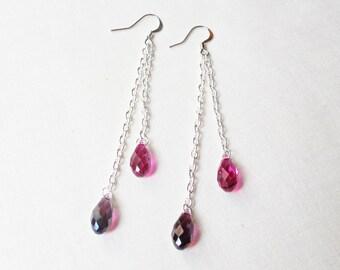 Swarovski Crystal Earrings Pink Purple - Drop Shoulder Duster Jewelry - Jewellery For Women Silver