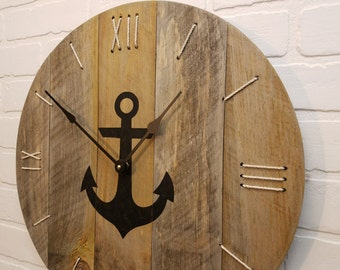 Anchor clock, 18 inch. Great for decor in a beach house , boat house ,or in coastal areas.