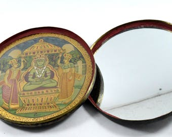 19c Antique Unique Indian Hand Crafted Big Travelling Prayer Box - Highly Collectible & Decorative Parshwanath Painted  Prayer Box. i27-9