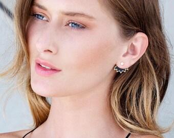 Silver Ear Jackets, Black Jacket Earrings, Double Sided Earrings, Punk Earrings Spike Earrings, Front To Back Earrings, Double Back Earrings