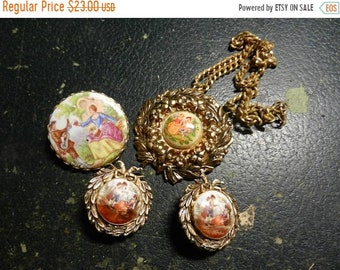 Spring Sale Vintage Costume Jewelry Brooch / Necklace Earrings