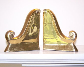 Brass Scroll Bookend, Hollywood Regency, Brass Wave, Cast Metal, Library Decor, Vintage Book Ends, Office Decor