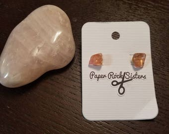 Tumbled Rose Quartz Stud Earrings