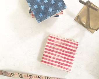 American Flag Coasters, Fourth of July Entertaining, Patriotic coasters, Nautical coasters, Americana gift