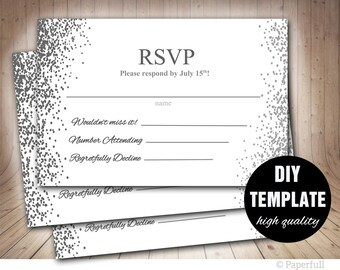 Silver RSVP Template, Grey Wedding Response Card, Silver Wedding RSVP, Silver Response Card,Confetti Wedding RSVP Card Instant Download