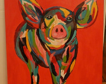 Pig Print on Canvas