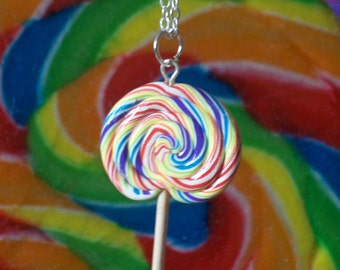 Rainbow Lollipop Necklace - Made to Order