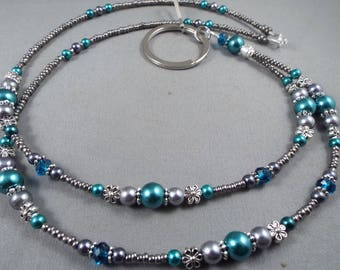 """Beaded breakaway lanyard teal and gray glass pearls and crystals 32"""" to 44"""" ID badge holder with magnetic or toggle clasp  ,unique fashion"""