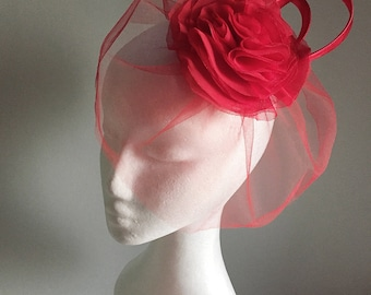 Red veil headpiece, birdcage veil with flower headpiece, red flower fascinator, red hair accessories, floral hair piece for races or wedding