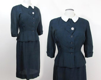 1940s Navy Blue 2 piece Set, Peplum top, slim skirt - summer weight rayon/silk - S-M