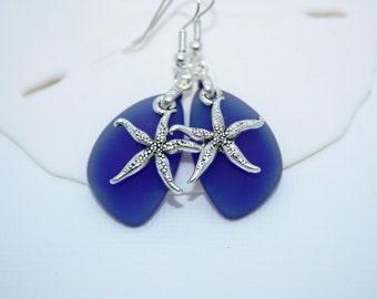 Blue Sea Glass Earrings, Star Fish Starfish Earrings Seaglass Earrings Starfish Jewelry Sea Glass Jewelry Beach Jewelry Seaglass Jewelry 069