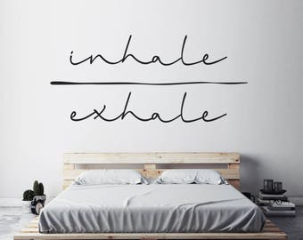 Inhale Exhale Art, Typography Sticker, Minimalist Art, Spiritual Decal, Bedroom Wall Sticker, Wall Art Decal, Yoga Studio Decor