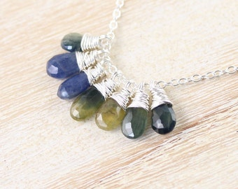 Ombre Sapphire & Sterling Silver Cluster Necklace. Blue, Green, Yellow Multi Color Gemstone Pendant. Womans Jewelry. Boho Hippie Jewellery