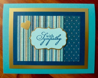 Sympathy Card, Handmade Sympathy Card for Men or Women, Condolence Card, Compassion Card, Sympathy for Him, Paper Handmade Greeting Card