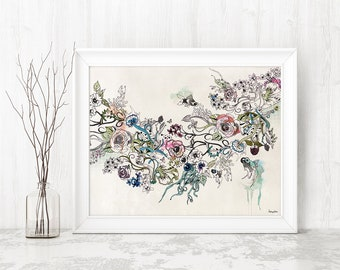 Giclee Flower Print, Flowers Watercolor Print, Giclee Art Print, Flowers Wall Decor, Watercolor Wall Art, Giclee Canvas, Floral Wall Art