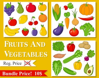 Fruits And Vegetables Clip Art Collection, Clipart Bundle - Instant Download - YDB003