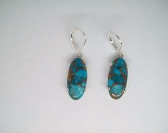 Genuine Copper Turquoise Elongated Oval Earrings in 925 Sterling Silver 22x12mm