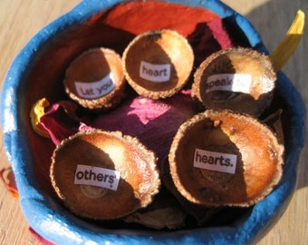 Sacred Clay Seed Pot w/ Nesting Acorn Cap Bowls & An Inspirational Message