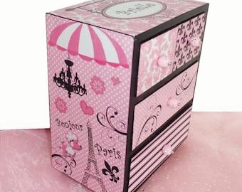 Girls Jewelry  Box Pink Poodle Parisian Personalized
