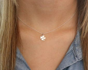 Good Luck Gifts, Four Leaf Clover Necklace Silver Good Luck Charms, Clover Leaf Jewelry, Luck Necklace Sterling Silver Clover Necklace NS019