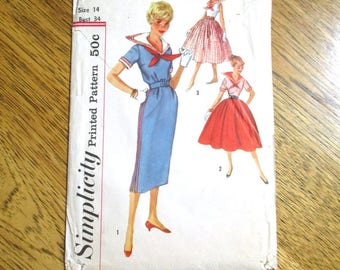"CUTE 1950s Mid Century Modern Sailor Dress w/ Full or Slim Skirt - Size 14 (Bust 34"") - UNCUT ff Vintage Sewing Pattern Simplicity 2366"